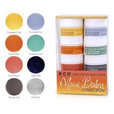 Набор цветных гелей ECO SO Quick Soak Off MAUI BABY (8 цветов х7г)