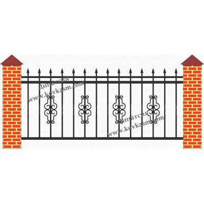 Забор с элементами ковки З 011